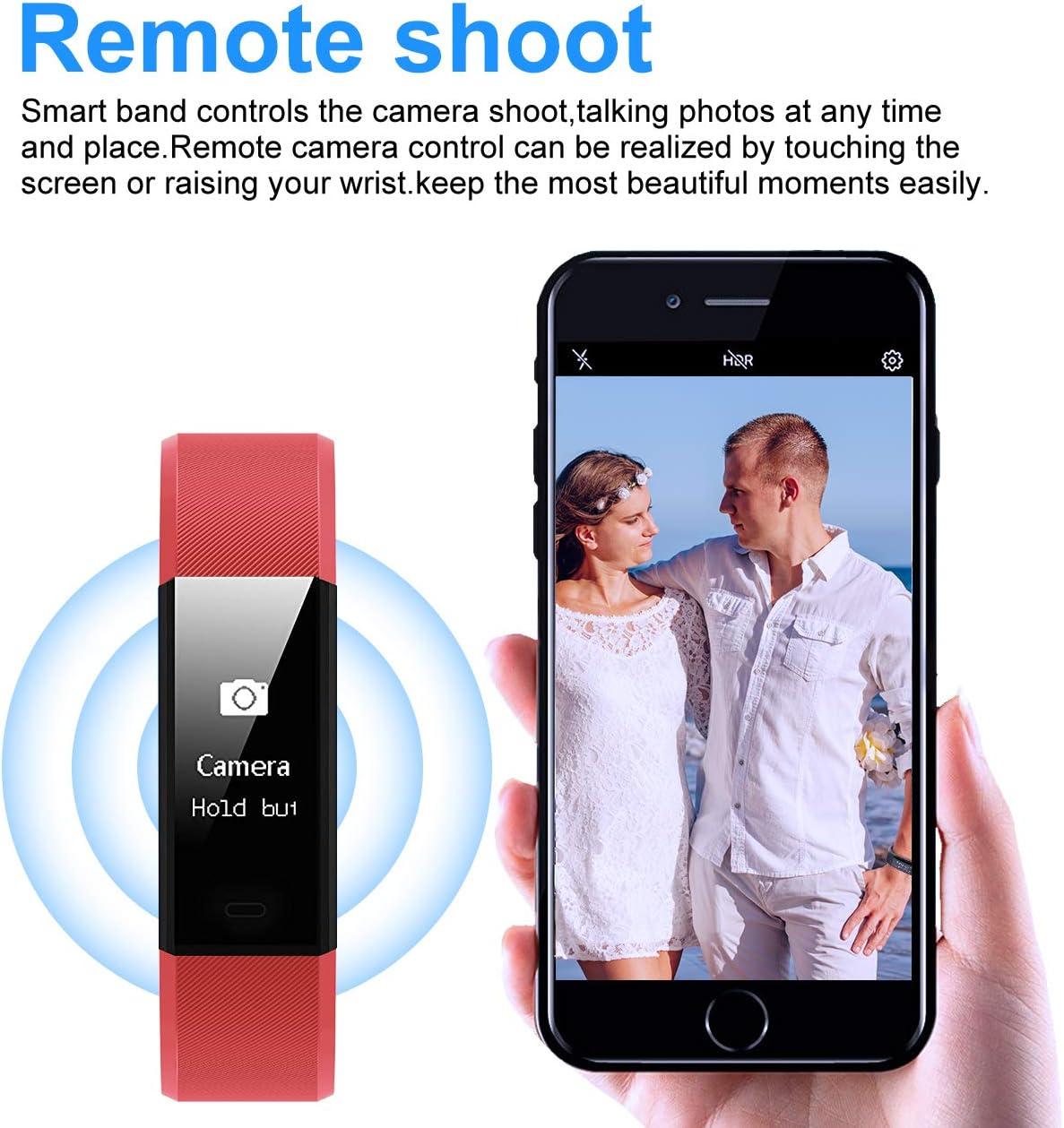 Muzili YG3 Plus Fitness Bracelet Sportif et P/édom/ètre avec Moniteur de Fr/équence Cardiaque//Compteur de Pas//Moniteur de Sommeil//Contr/ôle de la Cam/éra pour iPhone et Probable Android Tracker dActivit/é