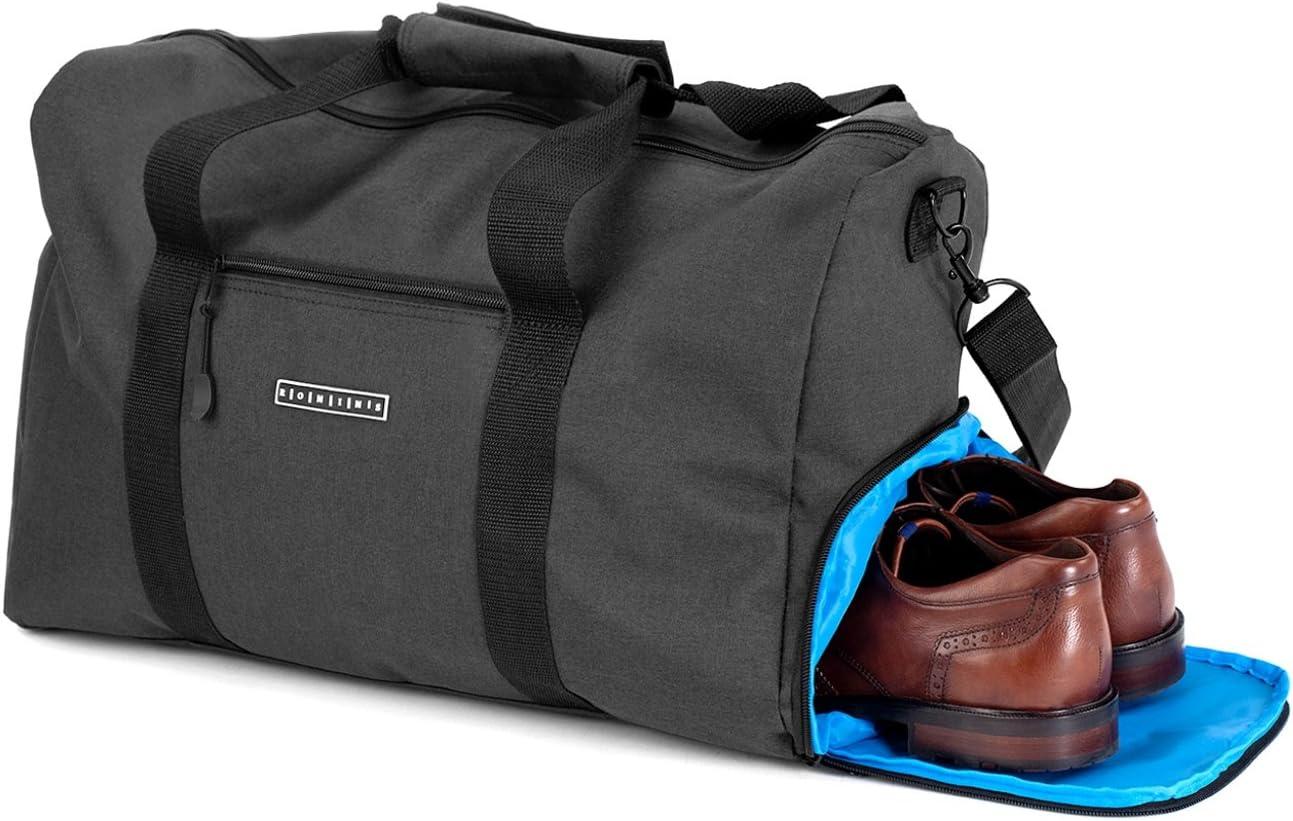 Elegante Bolsa Deporte Bolsa de Viaje con Compartimiento para Zapatos y portabotellas | Bolsa de Mano de 38 litros 55x40x32 | Bolsas de Gimnasio para Hombre y Mujer