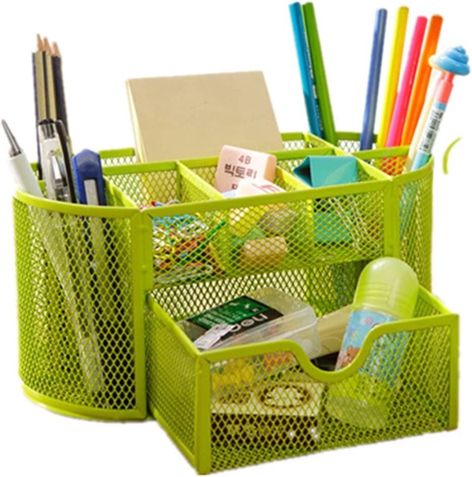 Space Saving Desk Tidy Multi-functional Metal Wire Mesh 9 Compartment Office / School Supply Desktop Organizer Caddy W/ Large Drawer (Green)
