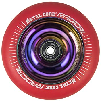 Metal Core Rueda Radical Rainbow para Scooter Freestyle, Diámetro 100 mm (Rojo): Amazon.es: Deportes y aire libre