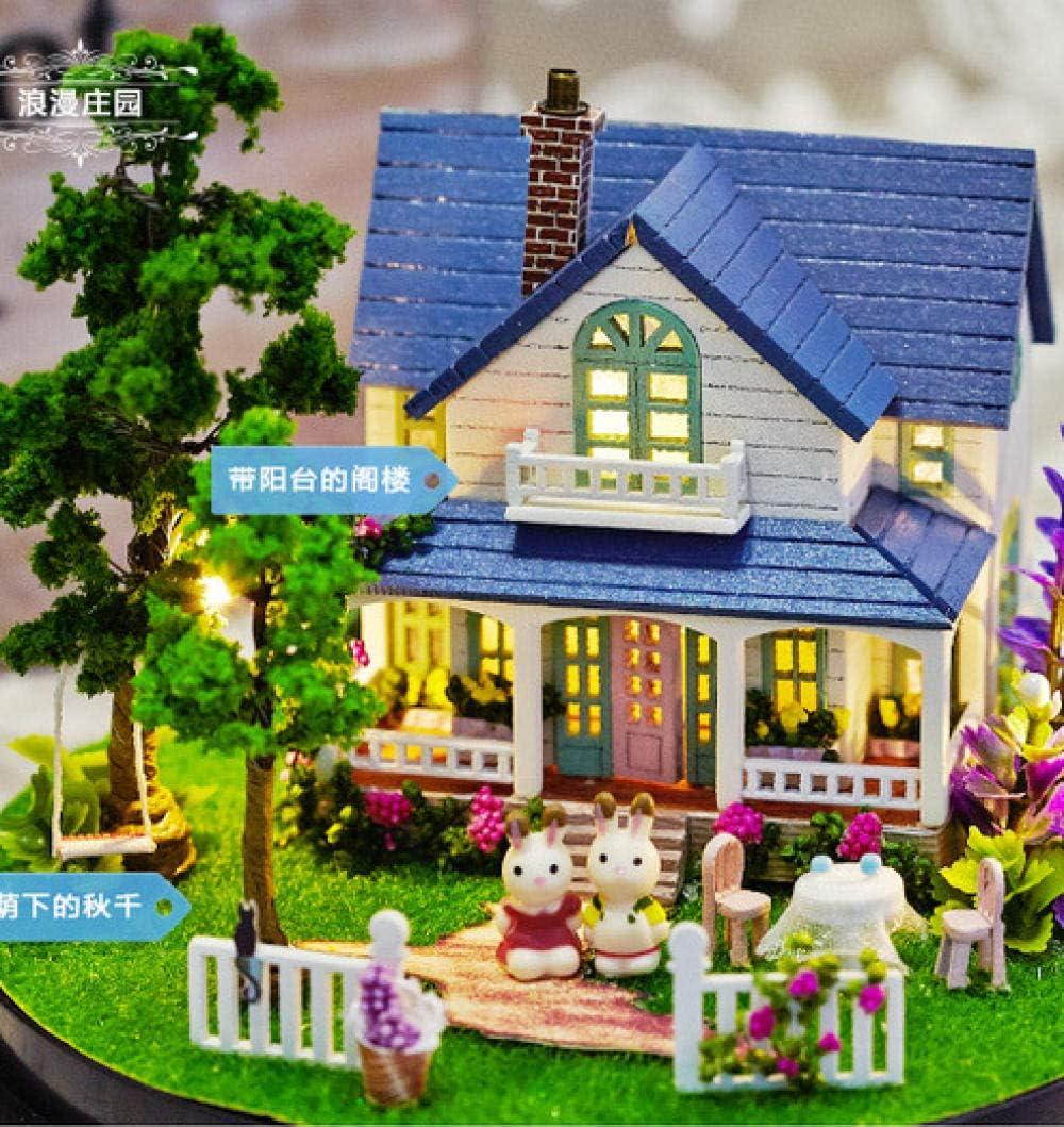 Awzzrs Haute qualit/é Maison de poup/ées en Bois incluant Accessoires et mobilier,Manoir Romantique Bricolage Pr/ésenter Un Cadeau de Choix pour Les Enfants