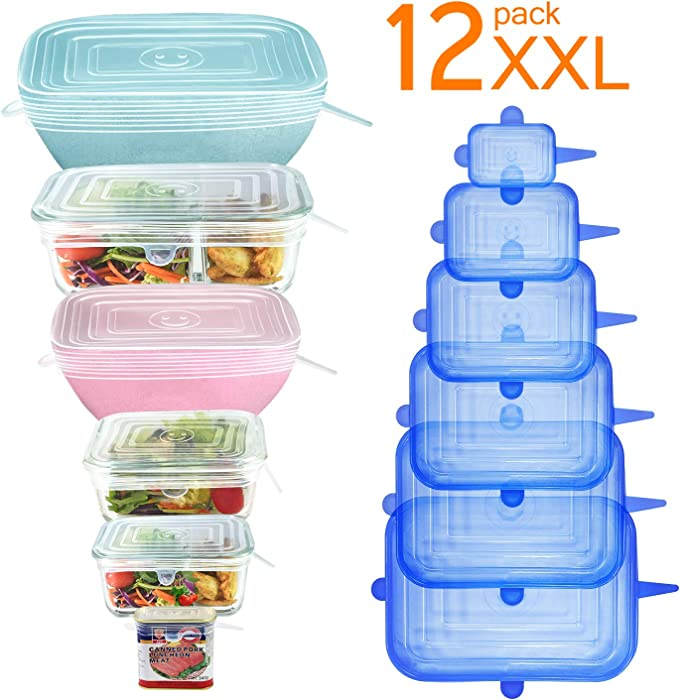 [12Pack] Longzon 12pcs Silicone Stretch Lids Square, Reusable Durable Rectangular Food Storage Covers for Bowls, Cups, Cans, Fit Different Sizes & Shapes of Container, Dishwasher & Freezer Safe