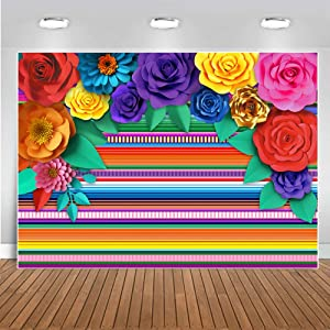 Mexican Theme Party Striped Backdrop Fiesta Cinco De Mayo Paper Flowers Background Party Decoration for Cake Table Decor Photo Booth 10X8FT 071