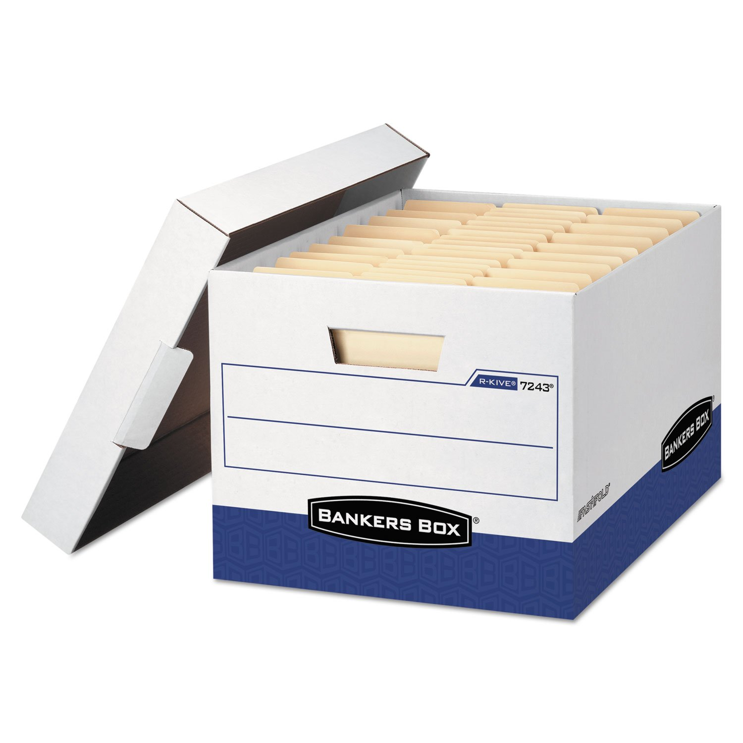 FEL07243 - Bankers Box R-Kive - Letter/Legal, White/Blue - TAA Compliant