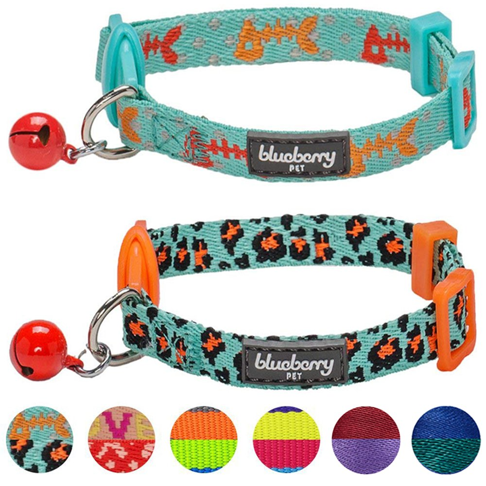 Blueberry Pet Pack of 2 Cat Collars, Hunting Expedition with Fish Bone and Leopard Print Adjustable Breakaway Cat Collar with Bell, Neck 9''-13''