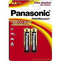 Pilha Alcalina, Panasonic, LR6XAB/2B, CinzaAA (Pequena)