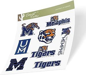 University of Memphis Tigers NCAA Sticker Vinyl Decal Laptop Water Bottle Car Scrapbook (Type 2 Sheet)