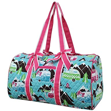 5fe55f9375ef Image Unavailable. Image not available for. Color  NGIL Happy Camper Print Large  Quilted Duffle Bag