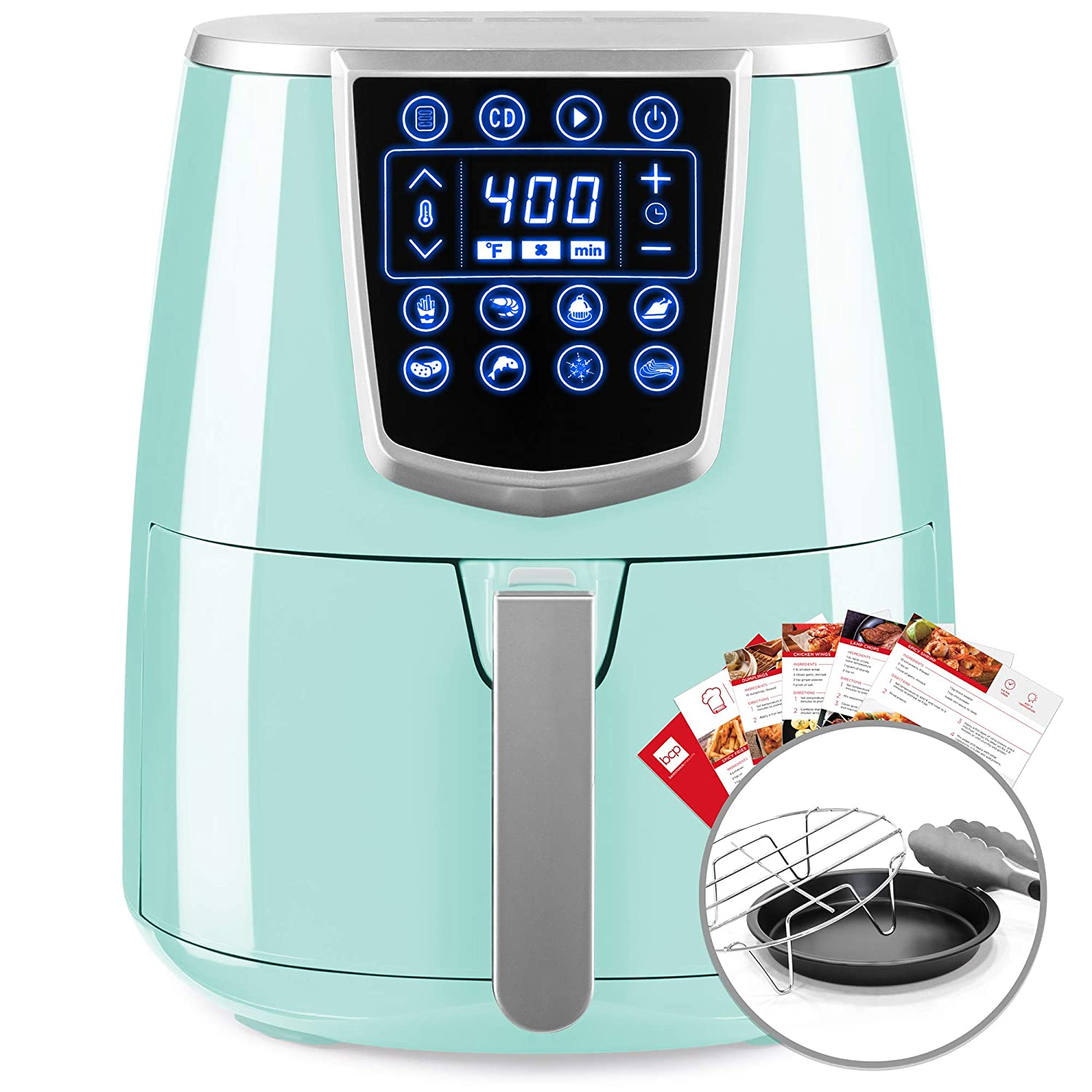 Best Choice Products 4.2qt 8-in-1 Digital Non-Stick Kitchen Air Fryer w/Timer, Rack, Tongs, Recipes - Seafoam Blue