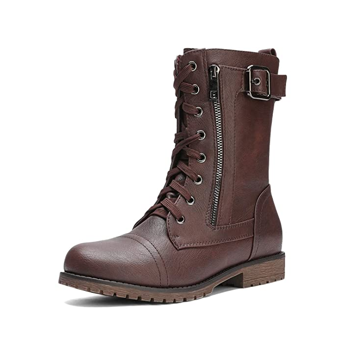 DREAM PAIRS Women's New Mission Burgundy Combat Mid Calf Boots Size 9 B(M) US