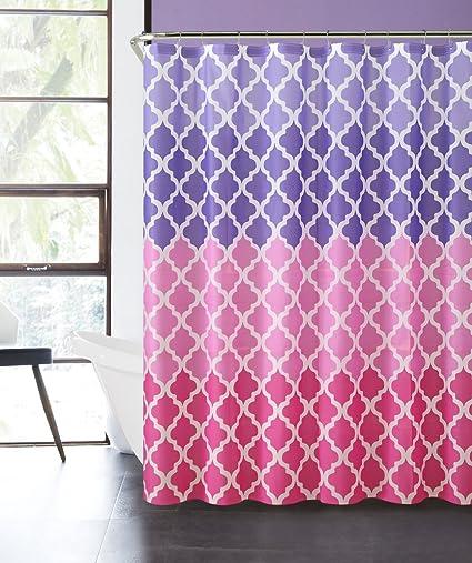 Amazon Luxury Home Ombre Peva Shower Curtain Pink Purple