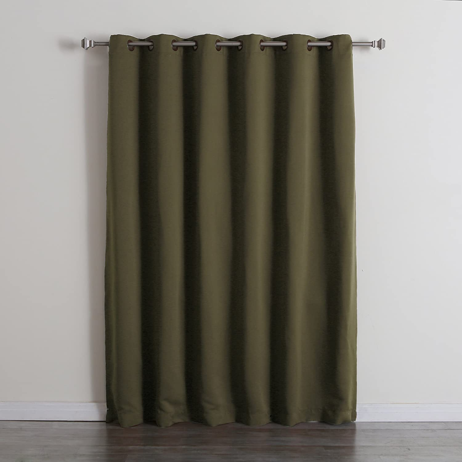 Best Home Fashion Wide Width Thermal Insulated Blackout Curtain - Antique Bronze Grommet Top - Olive