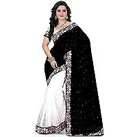Dubai Creation Women's velvet saree with blouse piece