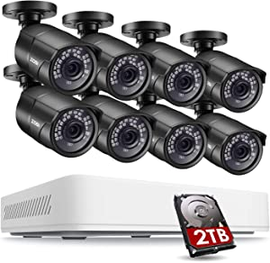 ZOSI 5MP 2K Home Security Camera System Outdoor Indoor, H.265+ 8 Channel DVR with Hard Drive 2TB and 8 x 2K(5MP) Weatherproof Surveillance Bullet Cameras with 120ft Night Vision, 110° View Angle