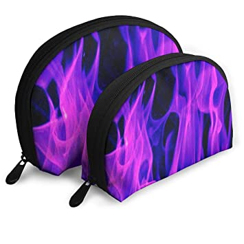 e9a0a66851ec Amazon.com : Makeup Bag Purple Flame Handy Half Moon Travel Bags Set ...