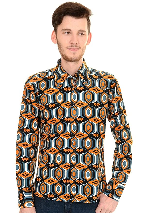 1960s – 1970s Mens Shirts- Dress, Mod, T-Shirt, Turtleneck 60s Retro Mod Op Art Psychedelic Shirt $45.95 AT vintagedancer.com