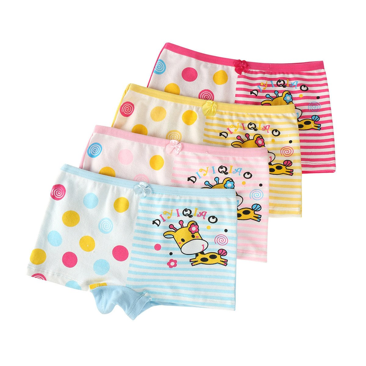 FAIRYRAIN Little Girls Kids Baby Toddler 4Pcs Cartoon Print Boyshort Underwear Boxers Briefs Panties