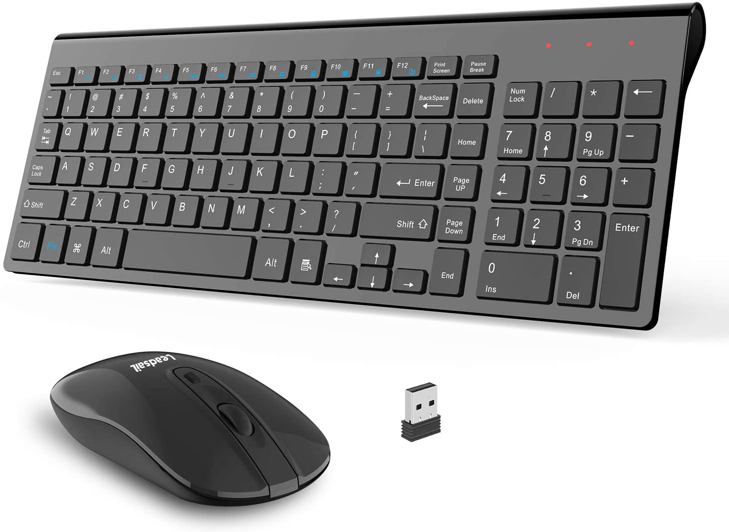 Wireless Keyboard and Mouse Combo, LeadsaiL Compact Quiet Full Size Wireless Keyboard and Mouse Set 2.4G Ultra-Thin Sleek Design for Windows, Computer, Desktop, PC, Notebook, Laptop (Light Black)