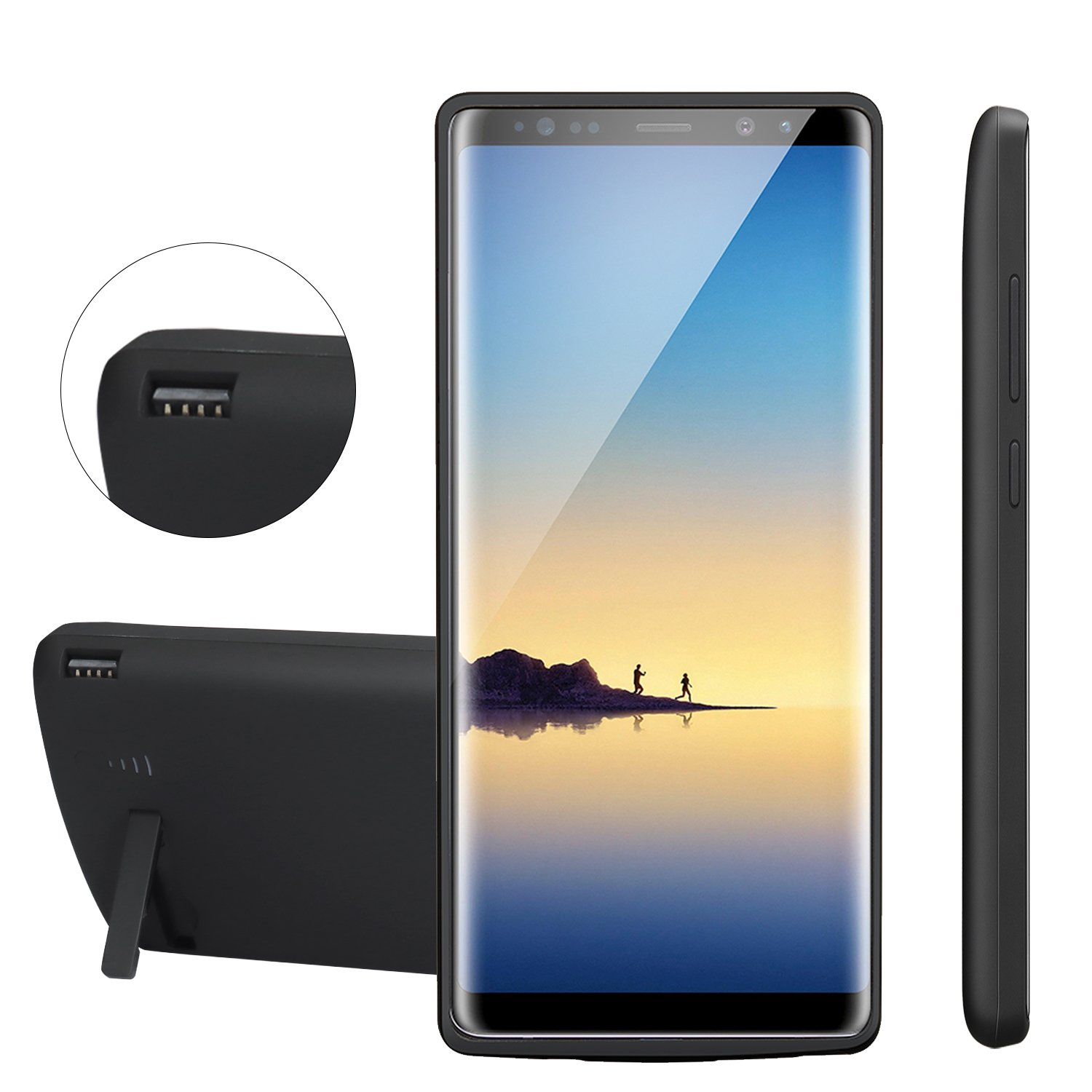 Battery Case Compatible Galaxy Note 8,PEYOU 6500mAh Slim TPU Frame Protective Charger Rechargeable Extended Power Bank Type C Charging Battery Case w/Kickstand Compatible Samsung Galaxy Note 8
