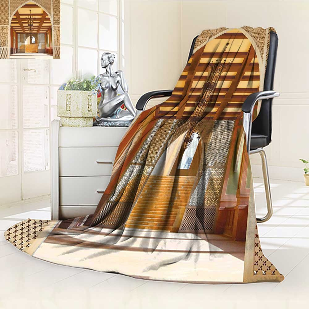 YOYI-HOME Soft Plush Warm Duplex Printed Blanket Autumn Winterin Doha Qatar Middle East Oriental Landmark Hotel Picture Ivory Peru for Anyone You love/W31.5'' x H47