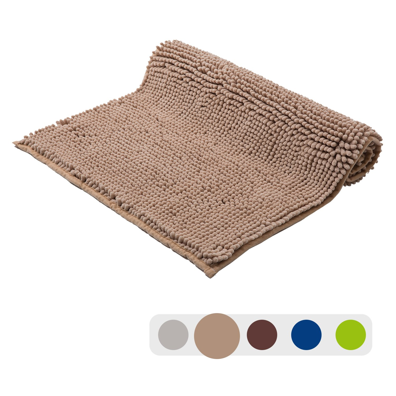 Grand Era 2 Piece Microfiber Shag Bathroom Mats Set Super Soft Chenille Bathmat 20 x 31 with Contour Rug 16 x 20 Perfect for Bathroom, Green KYIGR50802
