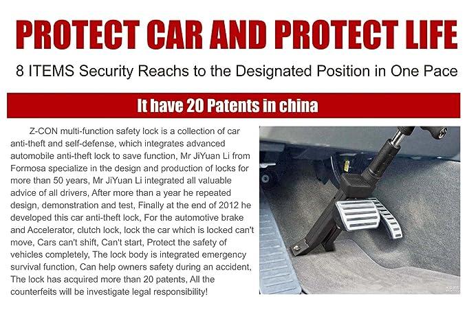 Bloqueo de freno, z-con antirrobo de bloqueo de bloqueo de freno embrague Pure acero coche freno de bloqueo para la caña ancho 5 mm - 15 mm de todos los ...
