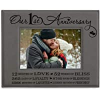 Kate Posh - Our First (1st) Anniversary Engraved Leather Frame - 1 Year of Marriage, 1st, 12 Months, One Year Wedding…