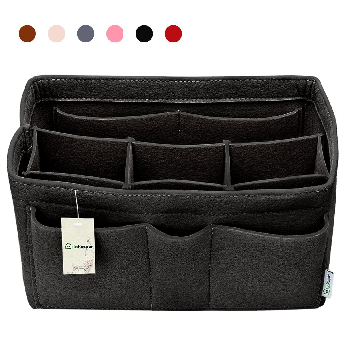Hokeeper Felt Purse Insert Organizer, Handbag Organizer, Bag in Bag for Handbag Purse Tote, Diaper Bag Organizer, Stand on Its Own,10 Compartments, 4 Sizes, 6 Colors (X-Large, Black)