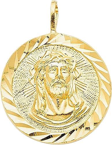 Precious Stars Jewelry 14k Yellow Gold Diamond-Cut Face Jesus Medallion Pendant
