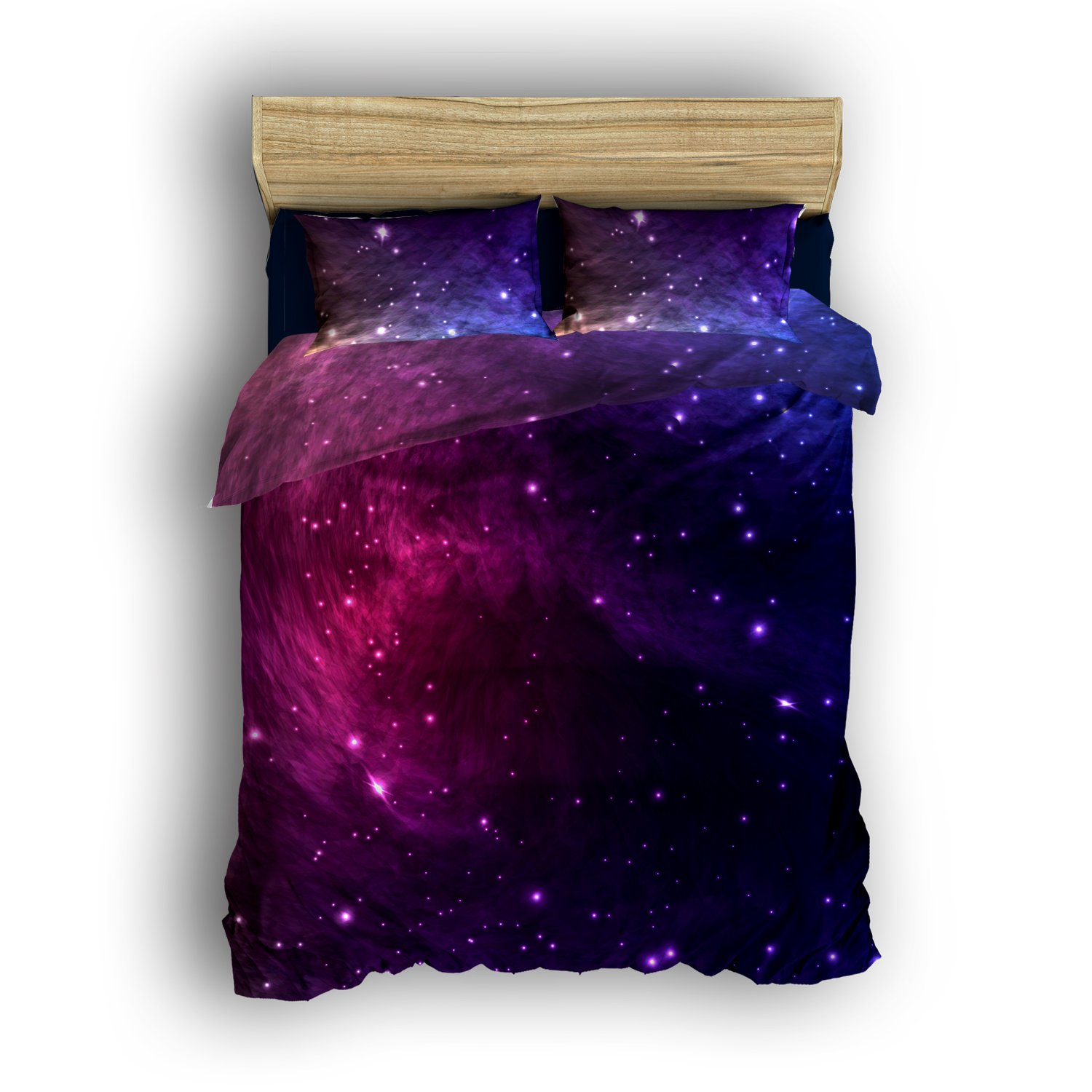 Libaoge 4 Piece Bed Sheets Set, Galaxy Stars in Space Celestial Astronomic Planets in The Universe Milky Way Print, 1 Flat Sheet 1 Duvet Cover and 2 Pillow Cases