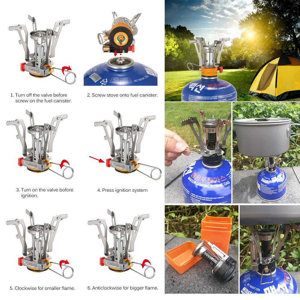 TOMSHOO Estufa de Gas Plegable Camping de Encendido Piezoeléctrico para Senderismo Acampada Picnic al Aire Libre: Amazon.es: Deportes y aire libre