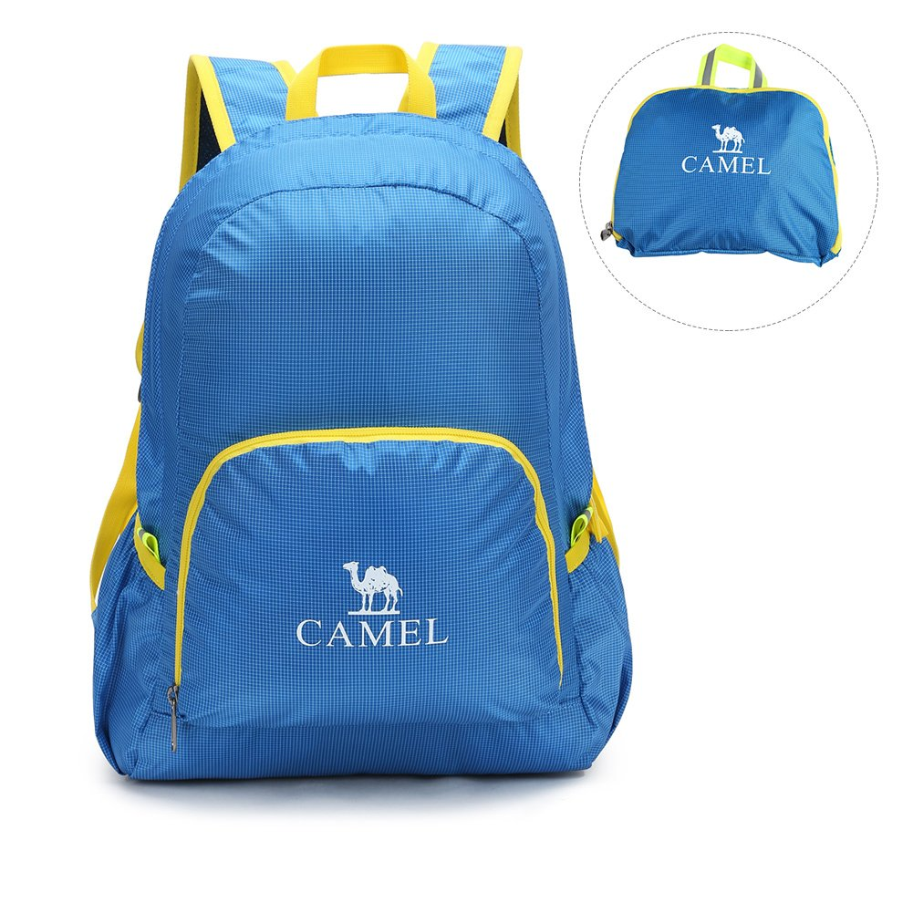 CAMEL CROWN Hiking Daypacks 25L Lightweight Packable Durable Travel Hiking Backpack Camping Outdoor Water Resistant Bookbags(Blue)