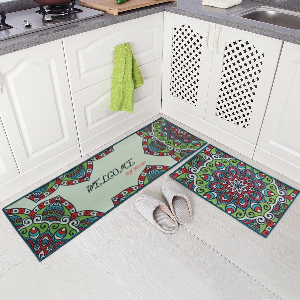 Purple Carvapet 2 Piece Non-Slip Kitchen Mat Runner Rug Set Doormat Vintage Design Baroque Style,Purple 15x47+15x23 15x47+15x23