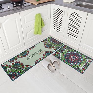 Carvapet 2 Piece Non-Slip Kitchen Mat Runner Rug Set Doormat Vintage Design Kaleidoscope Garden,Green (20 x59 +20 x31 )