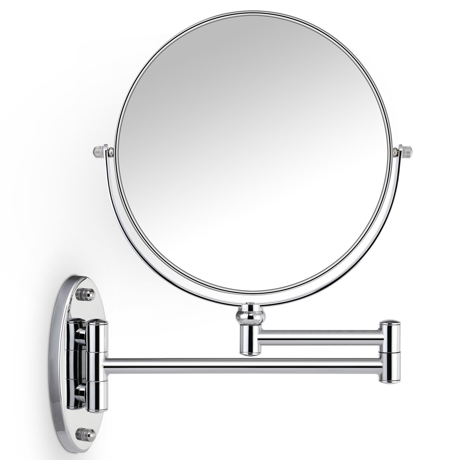 Miusco 7X Magnifying Two Sided Vanity Makeup Mirror, 8 inch, Wall Mount, Round, Chrome C3079
