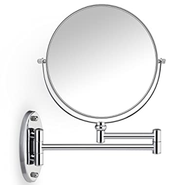 Miusco 7X Magnifying Two Sided Vanity Makeup Mirror, 8 inch, Wall Mount, Round, Chrome, for Bathroom Bedroom Shaving