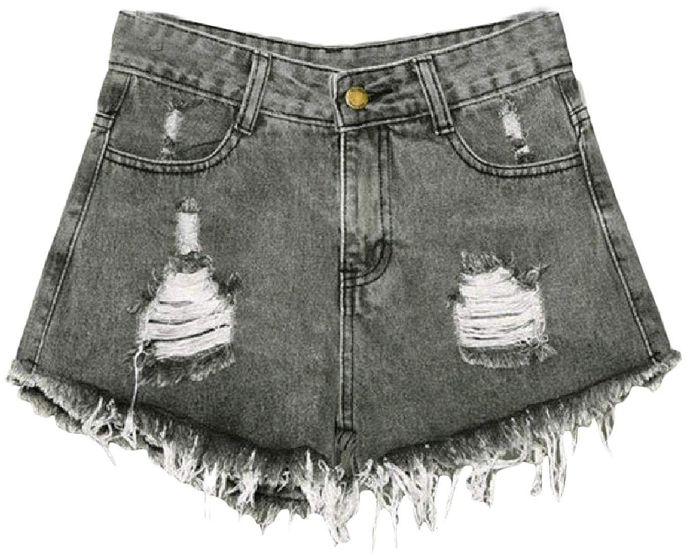 Macondoo Womens Jeans High Rise Raw Hem Plain Ripped Destroyed Denim Short Pants