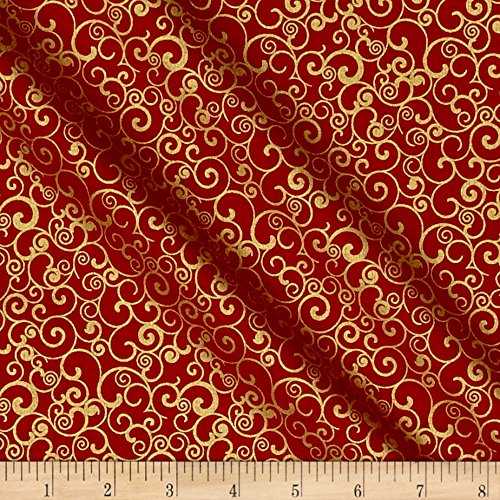 Penny Rose Joyous Christmas Sparkle Swirl Red Fabric By The Yard