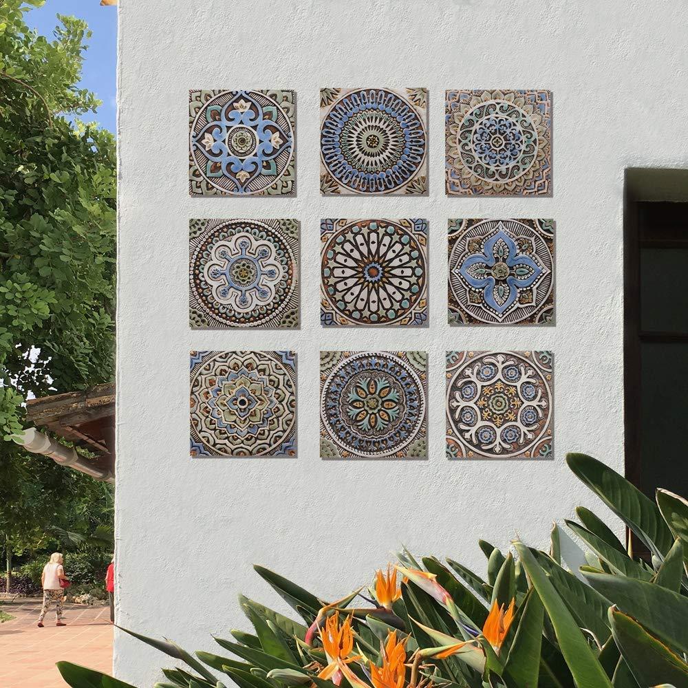 Amazon Com Set Of 9 Ceramic Tiles Home Decor Backsplash Tile Art Decals For Kitchen Bathroom Decor Matt Blue 11 8 Each Handmade