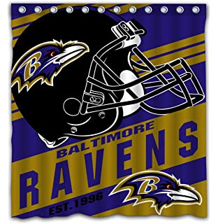 Potteroy Baltimore Ravens Team Stripe Design Shower Curtain Waterproof Mildew Proof Polyester Fabric 66x72 Inches