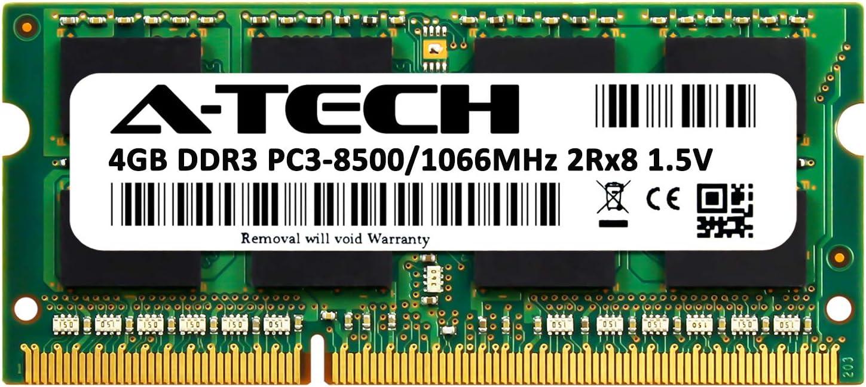 DDR3 1066MHz SODIMM PC3-8500 204-Pin Non-ECC Memory Upgrade Module A-Tech 4GB RAM for Toshiba Satellite C650D-04H