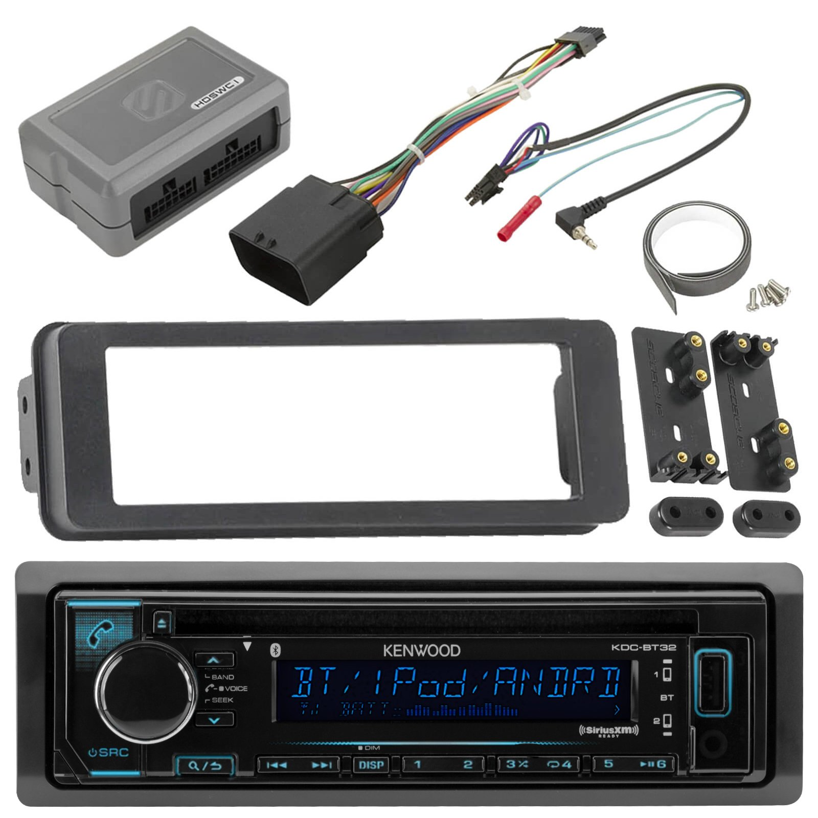 Kenwood KDCBT32 Bluetooth USB AUX CD Player Receiver w/ Variable Color Display, Scosche Adapter Dash Install Kit for Radio + Handle Bar Control Module - Fits 1998 2013 Harley Touring Motorcycle Bikes