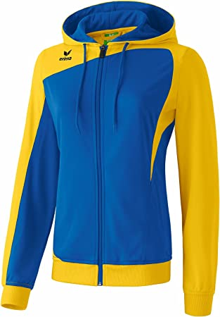 Erima Damen Jacke Club 1900 Trainingsjacke mit Kapuze, New Royal/Gelb, 34,