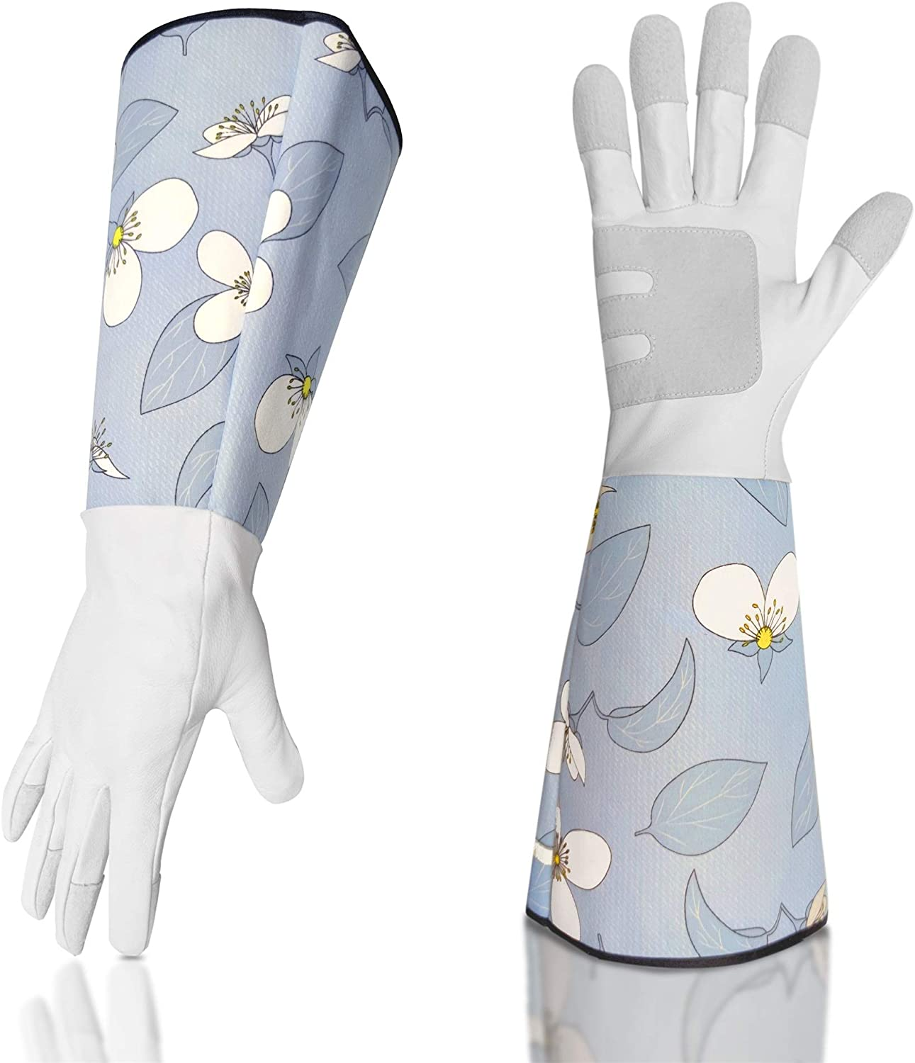 Leather-Gardening-Gloves for Women - Thorn Proof Rose Pruning Ladies Heavy Duty Gloves Goatskin Leather Gloves Thick Palm Gauntlet Garden Work Gloves with Forearm Protection -Blue