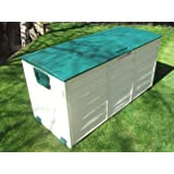 Vinsani Waterproof Garden Patio House Garage Outdoor Plastic Storage Utility Shed Chest Box with Wheels (Beige/Green)