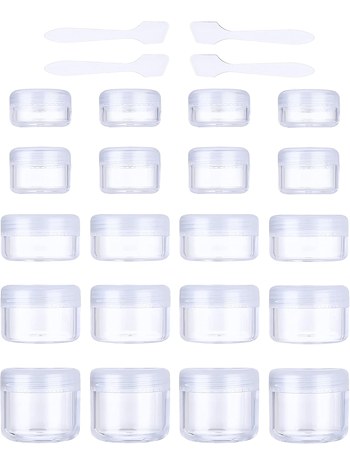 20 Pieces Empty Plastic Sample Containers Clear with Lids 3/5/ 10/15/ 20 Gram Size Round Cosmetic Pot Jars and 4 Pack Mini Spatula (White) Pangda