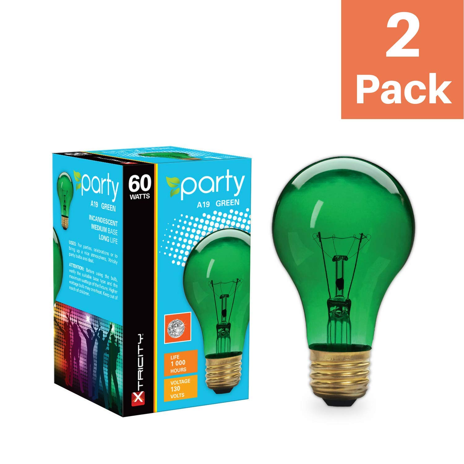 2 Pack Xtricity A19 Incandescent Colored Light Bulb 60W E26 Medium Base Green 130V
