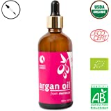 Arganöl von Fatima's Garden für Gesicht, Haare, Haut und Nägel, biozertifiziert als durch USDA und Ecocert – Pure, native, kaltgepresste marokkanische Anti-Aging-Feuchtigkeitspflege - 100ml