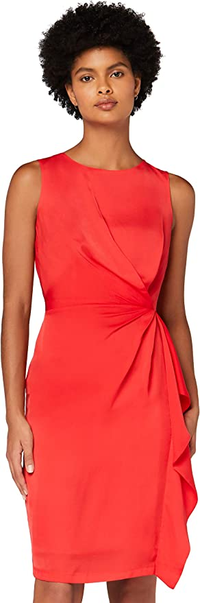 TALLA 40 (Talla del Fabricante: Medium). Marca Amazon - TRUTH & FABLE Vestido Túnica Detalle Retorcido Mujer Rojo (Red) 40 (Talla del fabricante: Medium)