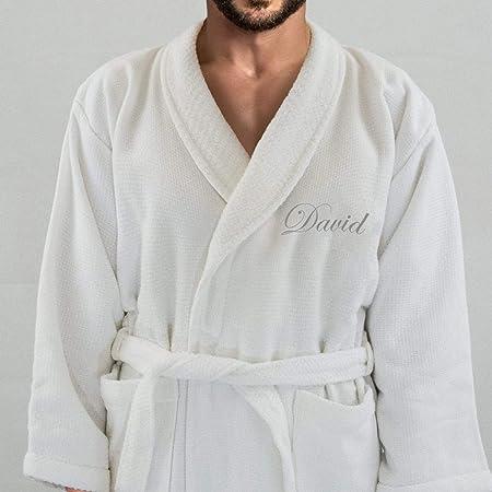 Hotel Edition Blanco de Matrimonio/Terry Albornoz de Hombre, con Plata Nombre (en la Parte Delantera) Personalizado, algodón, Blanco, Large: Amazon.es: Hogar